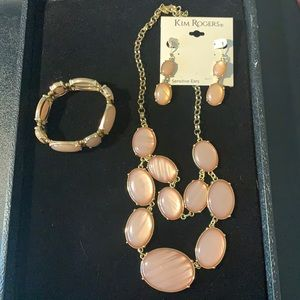 Kim Rogers jewelry set pink/rose and gold